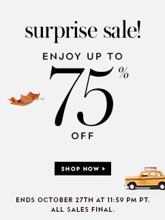 surprise sale! enjoy up to 75% off. shop now. all sales final. while supplies last. ends october 27th at 11:59 pm pt.