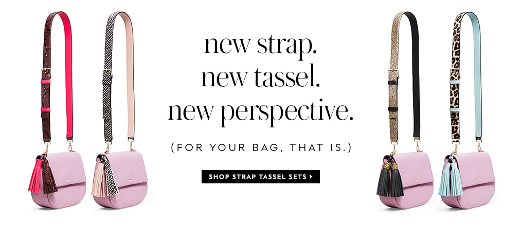 new strap. new tassel. new perspective. (for your bag, that is.) shop strap tassel sets.