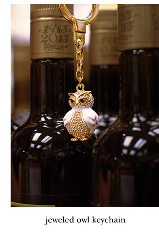 jeweled owl keychain