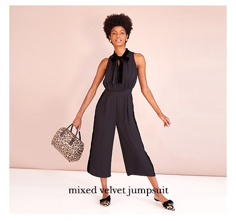 mixed velvet jumpsuit