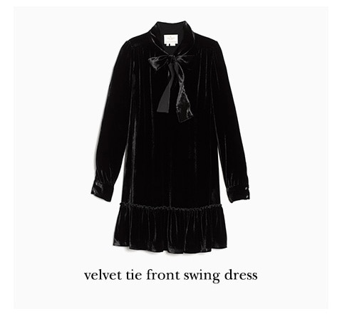 velvet tie front swing dress